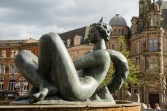 喷泉在维多利亚广场,伯明翰,英国 库存照片