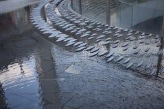 喷泉在Gael Aulenti广场 免版税库存照片