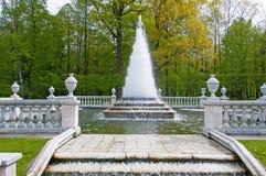 喷泉在Petergof公园 免版税库存图片