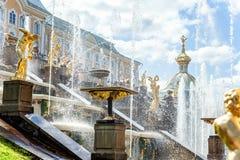 喷泉在Petrodvorets Peterhof,圣彼得堡,俄罗斯 图库摄影
