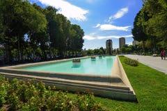 喷泉在Samed Vurgun公园在巴库 库存图片