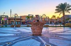 喷泉在Sharm El谢赫,埃及老镇  库存图片
