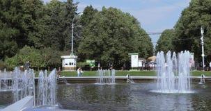 喷泉在Sokolniki公园 股票视频