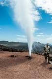 喷泉在Timanfaya公园兰萨罗特岛,金丝雀 图库摄影