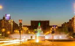 喷泉在Unirii广场-布加勒斯特 免版税库存照片