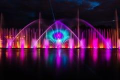 喷泉夜不可思议的展示在中央江边Roshen的 库存图片