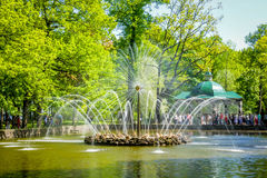 喷泉太阳(Peterhof) 免版税库存照片
