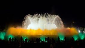 喷泉展示。巴塞罗那地标,西班牙。 库存图片
