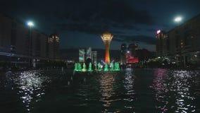 喷泉展示在阿斯塔纳,哈萨克斯坦 影视素材