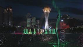 喷泉展示在阿斯塔纳,哈萨克斯坦 股票录像