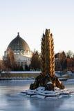 喷泉巨人和亭子背景空间的,全俄国会展中心,莫斯科 图库摄影