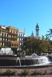 喷泉巴伦西亚市中心 免版税库存照片