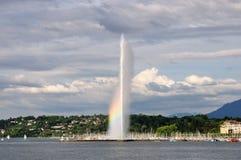 喷泉日内瓦彩虹瑞士 免版税库存照片