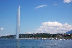 喷泉日内瓦视图 库存图片