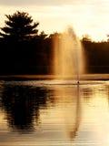 喷泉日落 库存照片