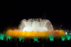 喷泉显示在巴塞罗那 图库摄影