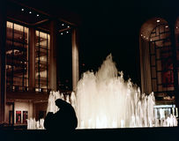 喷泉晚上剪影 免版税库存照片