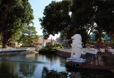 喷泉梅尔狮子在新加坡在微型泰国公园 库存照片