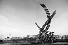喷泉欧洲强奸基辅火车站的在莫斯科 库存图片