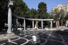 喷泉正方形在巴库,阿塞拜疆  图库摄影