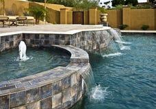 喷泉池瀑布 库存照片