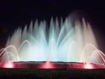 喷泉用运动水在Montjuic 免版税库存照片