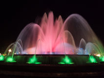 喷泉用运动水在Montjuic 图库摄影