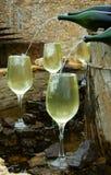 喷泉白葡萄酒 库存图片