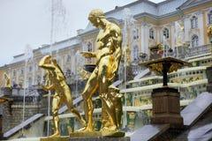 喷泉盛大小瀑布在Pertergof,圣彼德堡,俄罗斯 免版税库存照片
