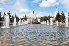 喷泉石花在VVC在莫斯科 图库摄影