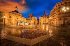 喷泉维尔京圣玛丽的正方形的里约Turia 库存图片