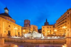 喷泉维尔京圣玛丽,巴伦西亚的正方形的里约Turia 库存图片