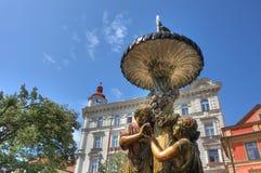 喷泉老布拉格 免版税库存图片