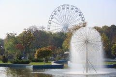 喷泉莫斯科公园tsaritsino 免版税库存照片