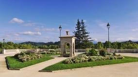 喷泉阿尔弗莱德De Vigny在波城,法国 免版税图库摄影