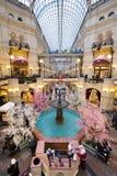 喷泉顶视图在胶购物中心的在红场 图库摄影