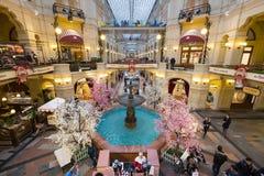 喷泉顶视图在胶购物中心的在红场 免版税库存照片