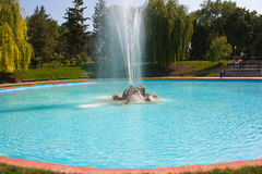 喷泉,在湖的大喷水的行动 库存图片