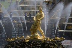 喷泉`森山,撕毁狮子` s嘴`特写镜头 Petrodvorets 免版税图库摄影