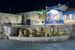 喷泉-黄道带标志-在Kedumim广场Tel的Aviv-Yafo老城市的Yafo在以色列 免版税库存照片