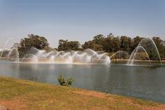 喷泉ibirapuera公园保罗圣地 免版税库存照片