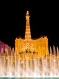 喷泉las晚上维加斯 库存照片