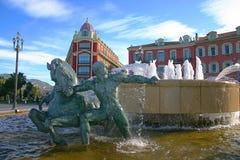 喷泉massena广场正方形 图库摄影