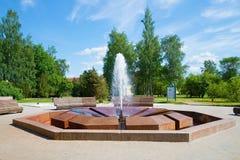喷泉Muraveva特写镜头,晴朗的6月天 Staraya Russa,诺夫哥罗德地区手段  免版税库存照片