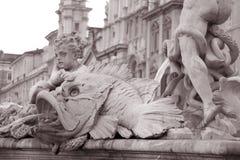 喷泉navona海王星广场罗马广场 免版税图库摄影