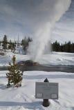 喷泉np河沿冬天黄石 库存图片