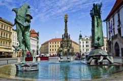 喷泉Olomouc,捷克repuplic 库存照片