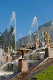 喷泉petergof彼得斯堡俄国圣徒 免版税图库摄影