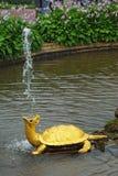喷泉petrodvorets乌龟 免版税库存照片