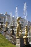 喷泉petrodvorets 免版税库存图片